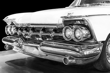 Classic american car in black and white