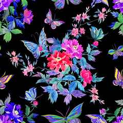 Seamless watercolor pattern of peonies and butterflies in oriental style.