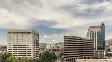 Downtown Boise Cityscape. View from the south of skyscrapers, streets, the State Capital building and the foothills on a summer afternoon. Boise, Idaho, USA Fotobehang