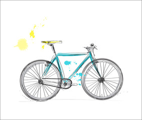 bicycle watercolor sketch. hand drawn city bike
