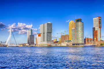 Travel Destinations. Cityscape View of Rotterdam Harbour and Port in Front of Erasmusbrug (Swan Bridge) on Background.
