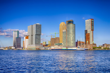 Travel Destinations. Cityscape View of Rotterdam Harbour and Port