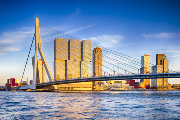 Photo sur Aluminium Rotterdam Famous Travel Destinations. Attractive View of Renowned Erasmusbrug (Swan Bridge) in Rotterdam in front of Port and Harbour. Picture Made Before the Sunset.