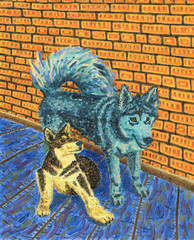 Two funny dogs sitting next to each other. Alaskan Malamutes. Interior of a rural house, brick wall and wooden floor. Bright colors. Oil Painting.
