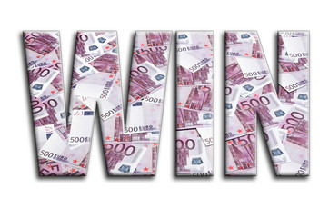 WIN. The inscription has a texture of the photography, which depicts a lot of 500 euro money bills