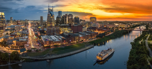 Fototapete - Nashville Skyline after sunset