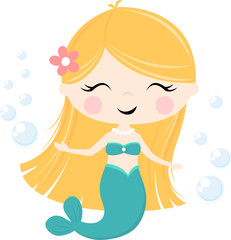 cute little mermaid illustration isolated on white, design for baby girl and children