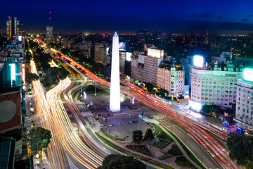Aerial view of Buenos Aires and 9 de julio avenue at night - Buenos Aires, Argentina