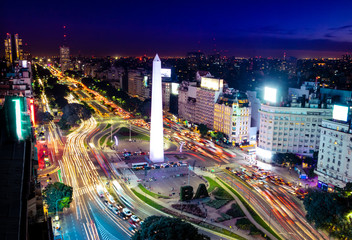 Stores photo Amérique Centrale Colorful Aerial view of Buenos Aires and 9 de julio avenue at night - Buenos Aires, Argentina