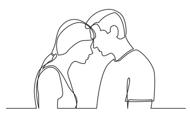 Obraz continuous line drawing of couple standing together on white background - fototapety do salonu