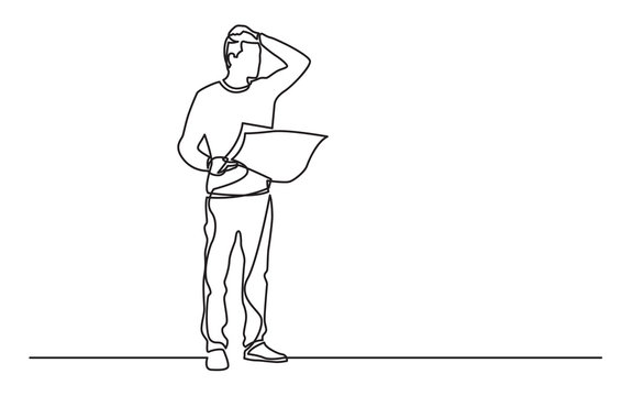 continuous line drawing of standing man with map feeling lost