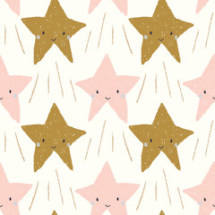 cute smiling shooting stars in pink and gold seamless repeat pattern