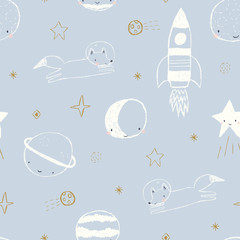 Vector seamless pattern with fox astronaut, rocket ship, planets and stars