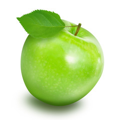 Green fresh apple fruit on white background , healthy diet food concept