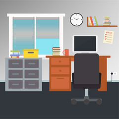 Office interiors horizontal banners. Business workplace with computer and table , illustration