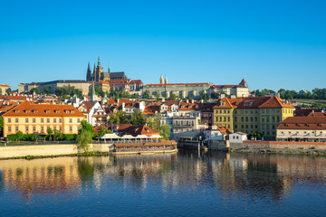 Poster Praag Prague city skyline with view of Vltava River in Prague, Czech Republic