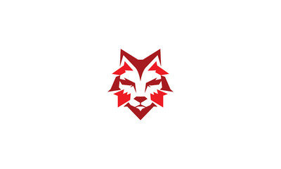 wolf geometry logo icon vector