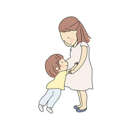 Vector illustration of kid touching, hugging and feeling new baby in pregnant mom belly. Parent prepare toddler to be siblings. Happy mother day, family, maternity concept. Cartoon character drawing.