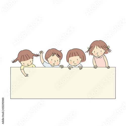 vector illustration of four little kids boy girls pointing and