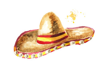 Sombrero. Cinco de Mayo hat. Hand drawn watercolor illustration, isolated on white background