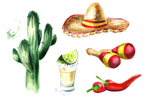 Mexico Set. Cactus, sombrero hat, maracas, chili pepper, glass of tequila with lime and salt. Hand drawn watercolor illustration, isolated on white background