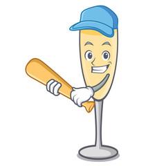 Playing baseball champagne character cartoon style