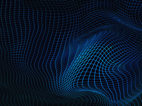 Abstract blue futuristic sci-fi background with warped wireframe, curved line surface. 3d illustration.