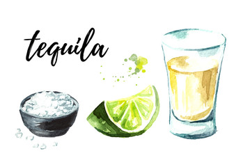 Tequila shot with lime and salt set. Hand drawn watercolor illustration, isolated on white background