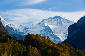 mountain jungfrau at Jungfrau region, Switzerland.