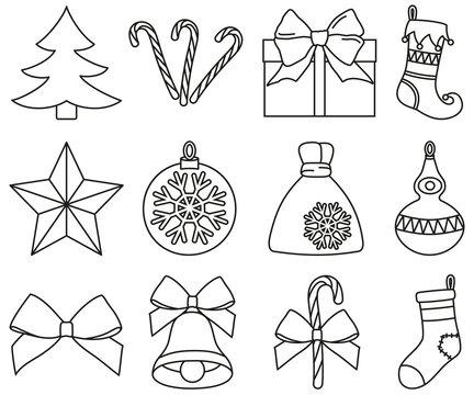 Line art black and white 12 christmas elements set