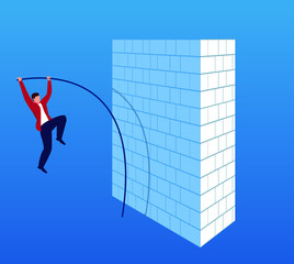 Businessman pole vault jumping wall
