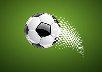 Soccer ball on green background, vector illustration