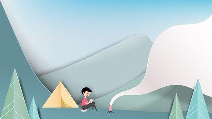 Smiley camping man reading book on the mountain, paper art/paper cutting style