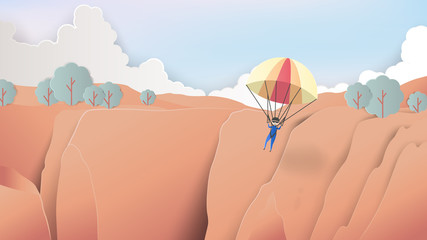 Skydiver flying over grand canyon, paper art/paper cutting style