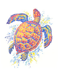 Декоративная живопись, акварель, морская черепаха на белом фоне.