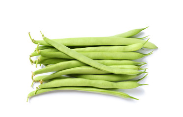 Pile of fresh green beans on white background