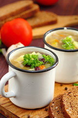 Homemade soup with red kidney beans and vegetables