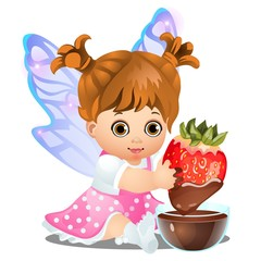 A little happy animated girl with fairy wings holding a delicious strawberry dipped in chocolate isolated on white background. Vector cartoon close-up illustration.