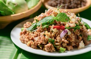 Spicy minced pork, Local thai food