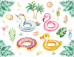 Watercolor beach tropical  set. Hand drawn summer objects: citrus, cocktails, palm, leaves and inflatable pool floats. Illustration isolated on white background.