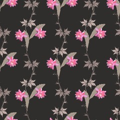 Seamless natural pattern with branches of virgin grapes, flowers and leaves of phyllocactus isolated on black background in vector. Print for fabric, wallpaper.