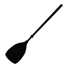 A black and white silhouette of a paddle