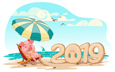 pig on holiday 2019 year, vector