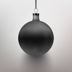 Vector illustration realistic black Christmas toy, ball. Gray background. EPS10