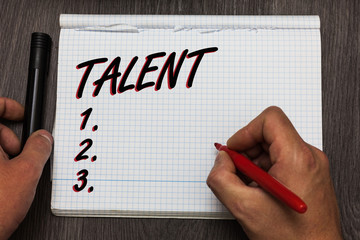 Handwriting text writing Talent. Concept meaning Natural abilities of people showing specialized skills they possess Graph paper thoughts ideas important marker pens practical book jobs.