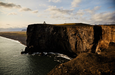 Sunny landscape in Iceland. Cliff