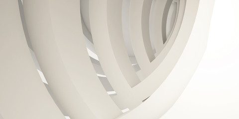 Architectural abstract background, minimalism, white background, arches. 3d render.