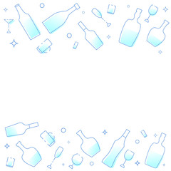 Template with alcoholic drinks glasses and bottles. Vector illustration.