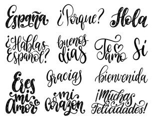Bienvenida, Hola, Gracias, Espana translated from Spanish handwritten phrases Welcome, Hello, Thank You, Spain etc.