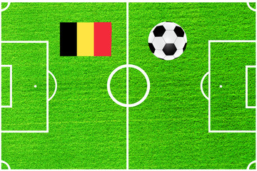 ball and flag of Belgium on the background of a football field